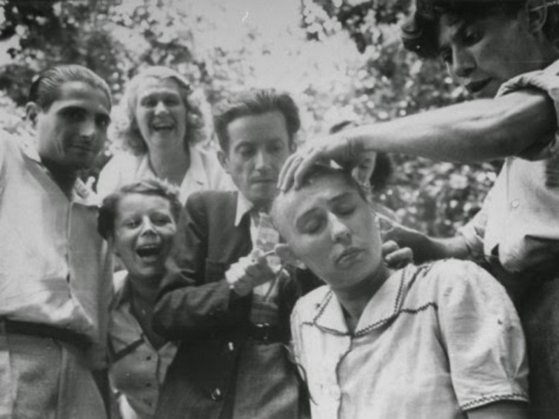 49 Female French collaborator having her head shaved during Liberation of Marseilles